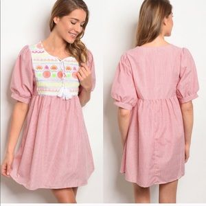 Red pin striped embroidered tunic dress.